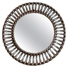 Round Midcentury Silver Gilded Mirror