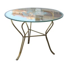 Round Midcentury Table Coffe Italian Design Brass Glass Top Engraved Drawings