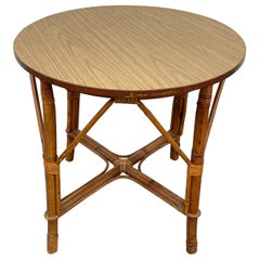 Round Midcentury Bamboo Rattan Italian Coffee Table with Laminated Top, 1960s