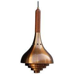 Round Midcentury Copper Ceiling Lamp Minimal Sculptures Lumi Milano, 1950s