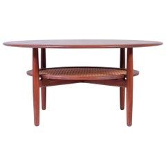 Round Midcentury Danish Teak Coffee Table, 1950s