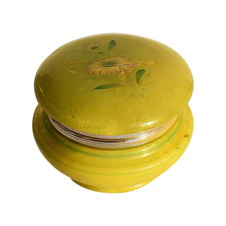 Round Midcentury Green Alabaster Floral Hinged Trinket Box with Lid, Italy For Sale