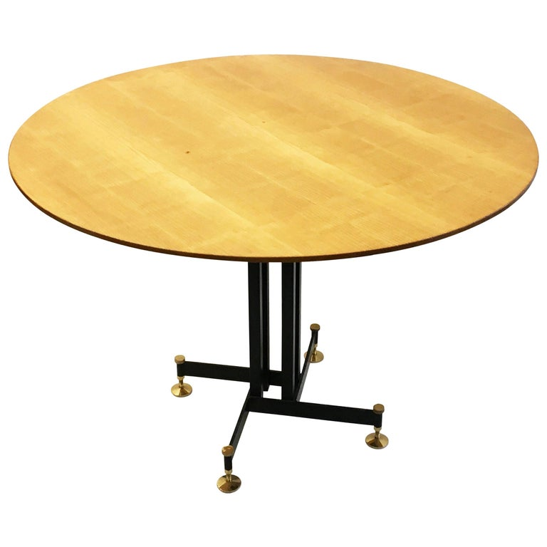 Round Mid-Century Italian Dining Table, Circa 1955 For Sale