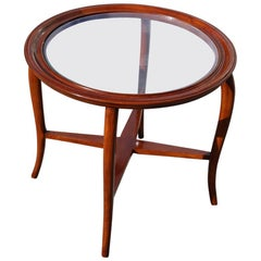 Round Midcentury Italian Table Coffee Cherrywood Glass Top Cuved Wood