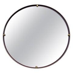 Round Midcentury Wall Mirror Minimalist Italian Design Ettore Sottsass Style