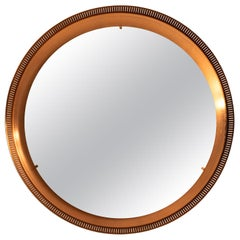 Round Mirror in Copper with Backlight Produced in Denmark