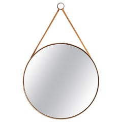 Round Mirror in Pine, Brass and Leather by Glas Mäster in Markaryd, Sweden