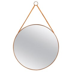 Round Mirror in Teak and Leather Produced by Glasmäster in Markaryd, Sweden