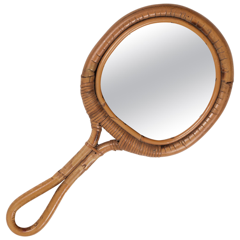 Round Mirror, Vintage Rattan Hand Mirror, Franco Albini Style, Italy, 1960s