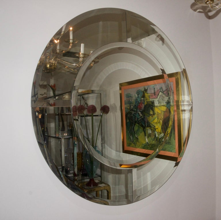 Round Mirror with Beveled Edges For Sale 1