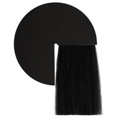 Round Mirror with Black Mongolian Horsehair, Aries by Ben and Aja Blanc