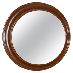 Round Mirror with Frame in Lacquered Wood, Italy Design, 1970s