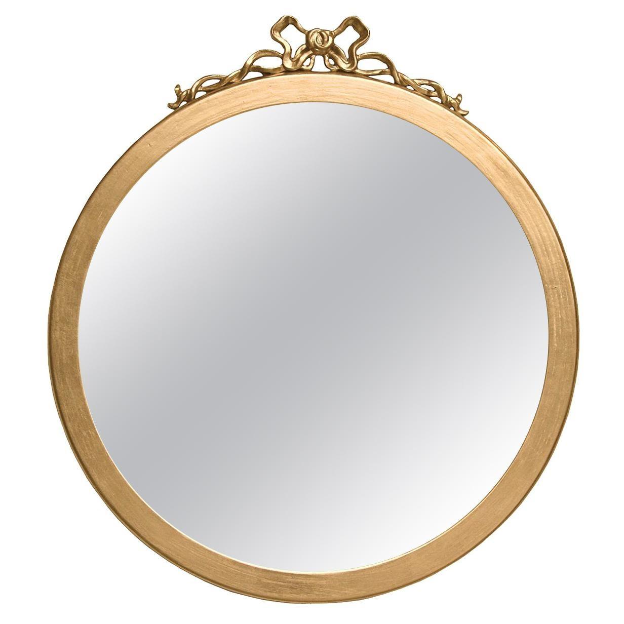 Round Mirror with Gold Leaf