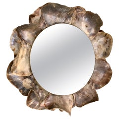 Large Mother of Pearl Shells on Round Mirror Frame, France, Contemporary