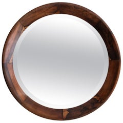 Round Mirror with Rosewood Frame, Brazil, 1960s