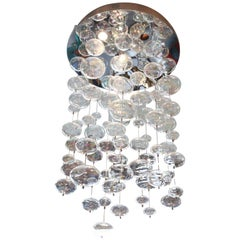 Round Mirrored Ceiling Fixture w/ Iridescent Glass Bubbles
