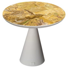 Round Modern Side Table White Lacquered Wood Conical Base Scagliola Top