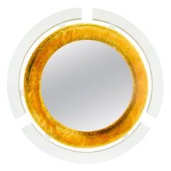 Round Modern Wall Mirror with Faux Rabbit Fur Trim