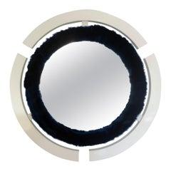 Round Modern Wall Mirror with Fur Trim