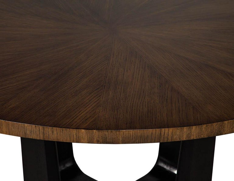 Round Modern Walnut Dining Table with Sunburst Top by Carrocel For Sale 6