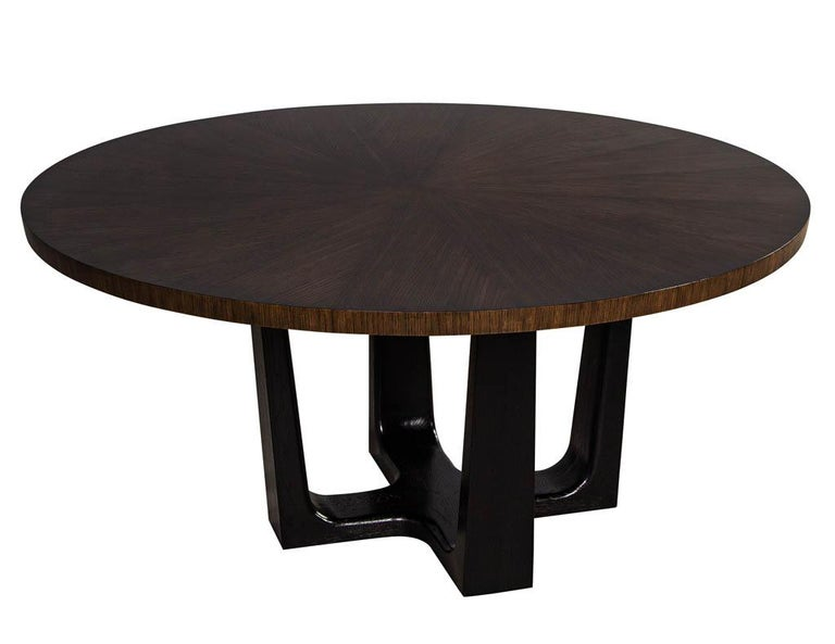 Canadian Round Modern Walnut Dining Table with Sunburst Top by Carrocel For Sale