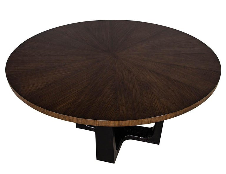 Round Modern Walnut Dining Table with Sunburst Top by Carrocel In New Condition For Sale In North York, ON