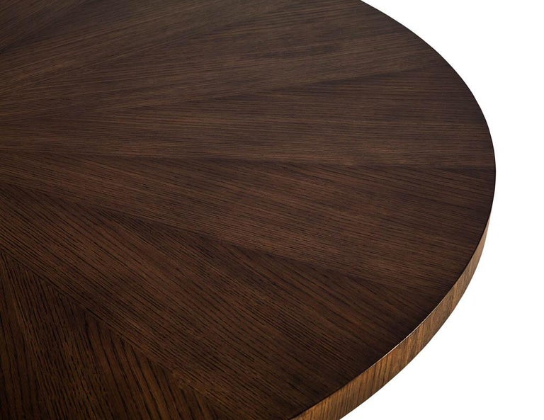 Contemporary Round Modern Walnut Dining Table with Sunburst Top by Carrocel For Sale