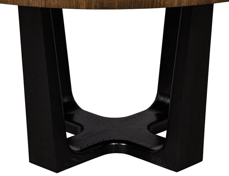 Round Modern Walnut Dining Table with Sunburst Top by Carrocel For Sale 3