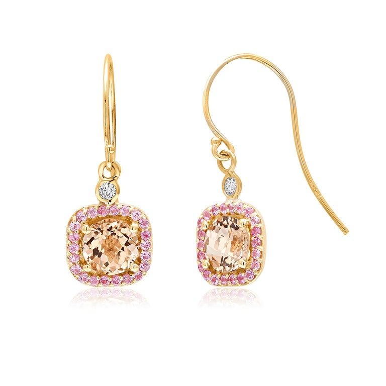 Round Cut Round Morganite and Diamond Yellow Gold Drop Hoop Earrings For Sale