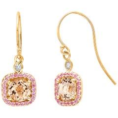 Round Morganite and Diamond Yellow Gold Drop Hoop Earrings