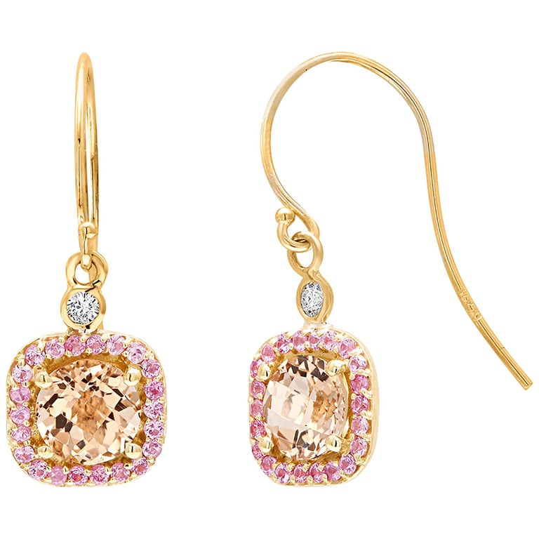 Round Morganite and Diamond Yellow Gold Drop Hoop Earrings For Sale