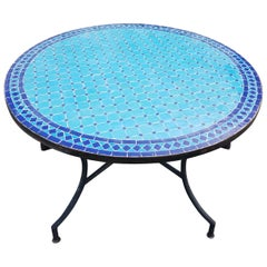 Round Moroccan Mosaic Table, Blue on Blue