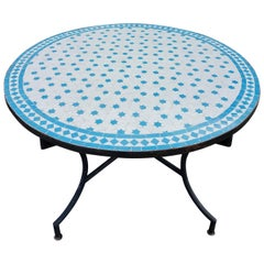 Round Moroccan Mosaic Table, White / Turquoise