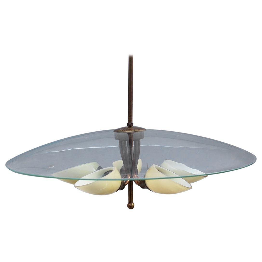 Round Murano Glass Curved Chandelier Midcentury Italian Design Yellow Brass
