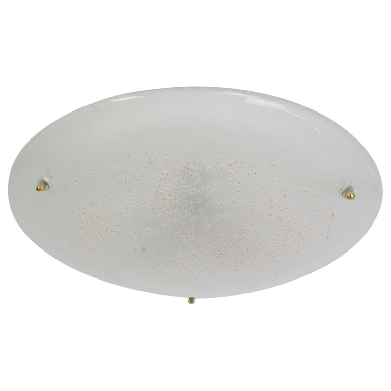 Round Murano Glass Flushmount by Hillebrand, Germany, 1970s For Sale
