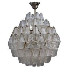Round Murano Glass Venini Chandelier Poliedro 1950s Trasparent Italian Design
