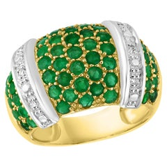 Round Natural Emerald and Diamond Cocktail Ring 14 Karat Yellow Gold