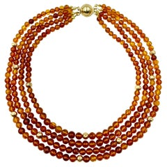 Round Natural Honey Amber 14K Hammered Gold Bead Multi-Strand Necklace