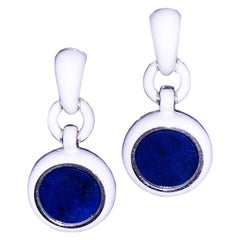 Round Natural Lapis Disk White Hand Enameled Sterling Silver Dangle Earrings