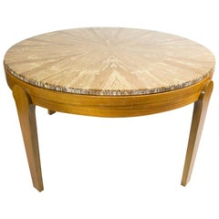 Round Natural Onyx Stone Top Coffee Table, on Brown Wooden Legs, 1970s
