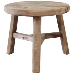 Round Natural Side Table Made from Reclaimed Elm Wood