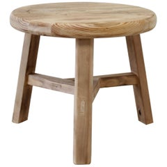 Round Natural Side Table Made from Reclaimed Elmwood