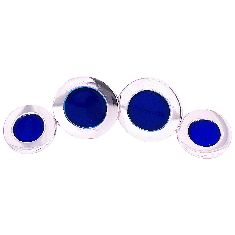 Berca Round Navy Blue Hand Enameled Sterling Silver Cufflinks