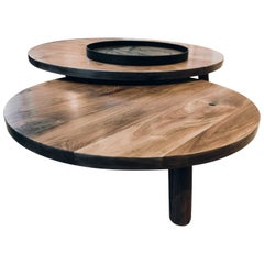 Round Nesting Low Coffee Tables in Walnut