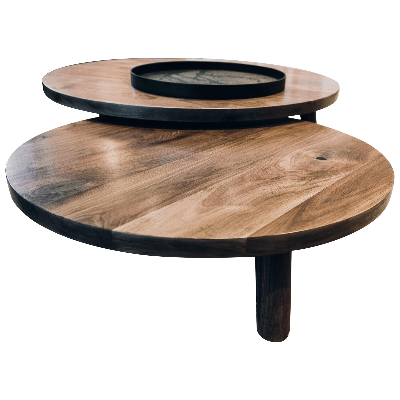 Round Nesting Low Coffee Tables In Walnut