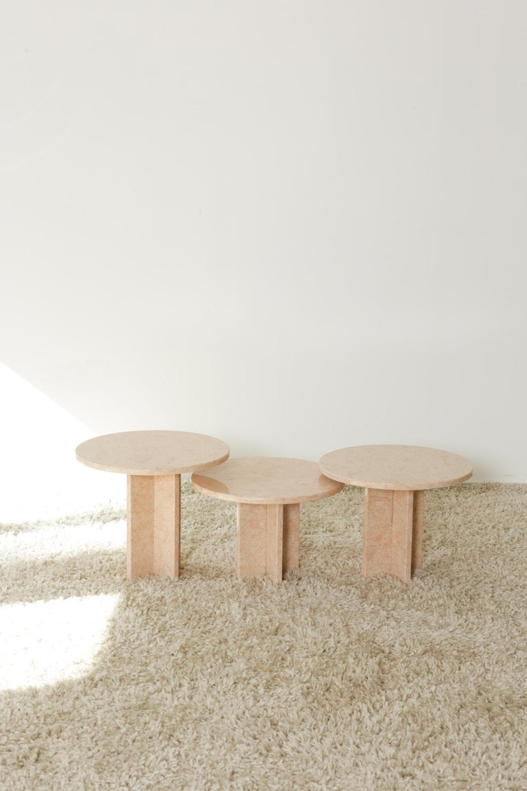 Round Nesting Table in Oriental Pink Marble For Sale 5