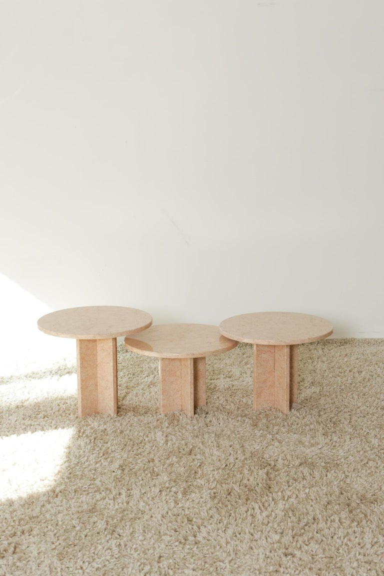 Round Nesting Table in Oriental Pink Marble For Sale 6