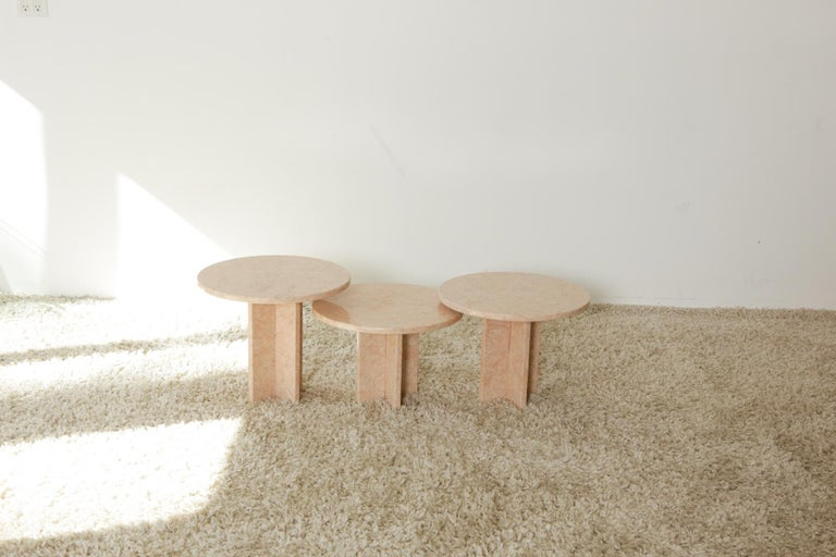 Round Nesting Table in Oriental Pink Marble For Sale 7