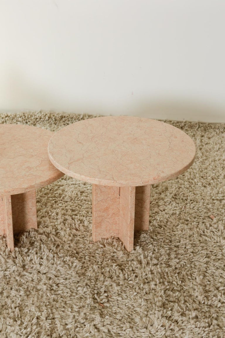 Round Nesting Table in Oriental Pink Marble For Sale 10
