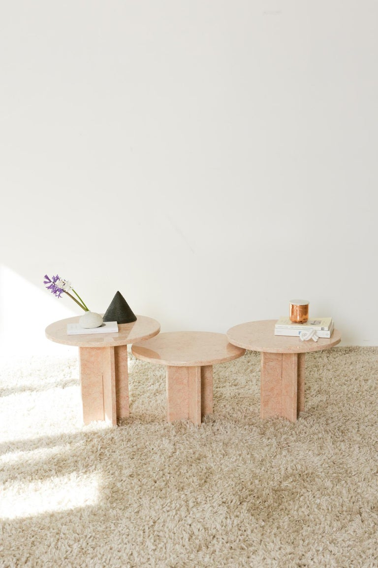 Round Nesting Table in Oriental Pink Marble For Sale 11